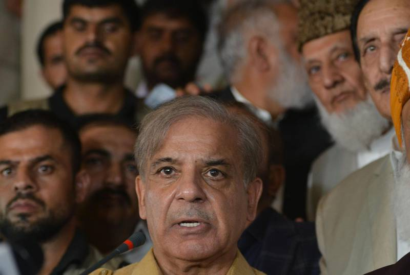 (FILES) In this file photo taken on July 27, 2018, Shahbaz Sharif, the younger brother of ousted Pakistani Prime Minister Nawaz Sharif and head of Pakistan Muslim League-Nawaz (PML-N), speaks during a press conference after attending an All Parties Conference in Islamabad.  Pakistan opposition leader Shahbaz Sharif was arrested on October 5 for graft, officials said, the latest corruption allegation against the Sharif political dynasty that was ousted from power by ex-cricketer Imran Khan in elections this summer. -   / AFP / AAMIR QURESHI