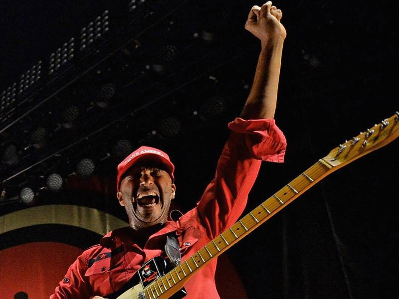 RESIZED. LOS ANGELES, CA - JUNE 03:  Recording artists Chuck D, B-Real and Tom Morello of Prophets of Rage perform onstage at Hollywood Palladium on June 3, 2016 in Los Angeles, California.  (Photo by Kevin Winter/Getty Images)