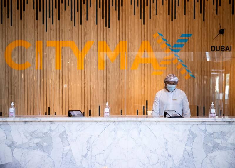 DUBAI, UNITED ARAB EMIRATES.  2 FEBRUARY 2021. The reception of Citymax Hotel Business Bay.Photo: Reem Mohammed / The NationalReporter: