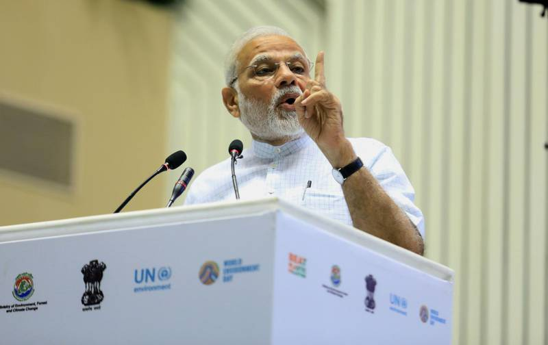 epa06786912 Indian Prime Minister Narendra Modi speaks during an event marking World Environment Day in New Delhi, India, 05 June 2018. India is host for the 43rd edition of the World Environment Day for which the theme this year is 'Beat Plastic Pollution'.  EPA/STR