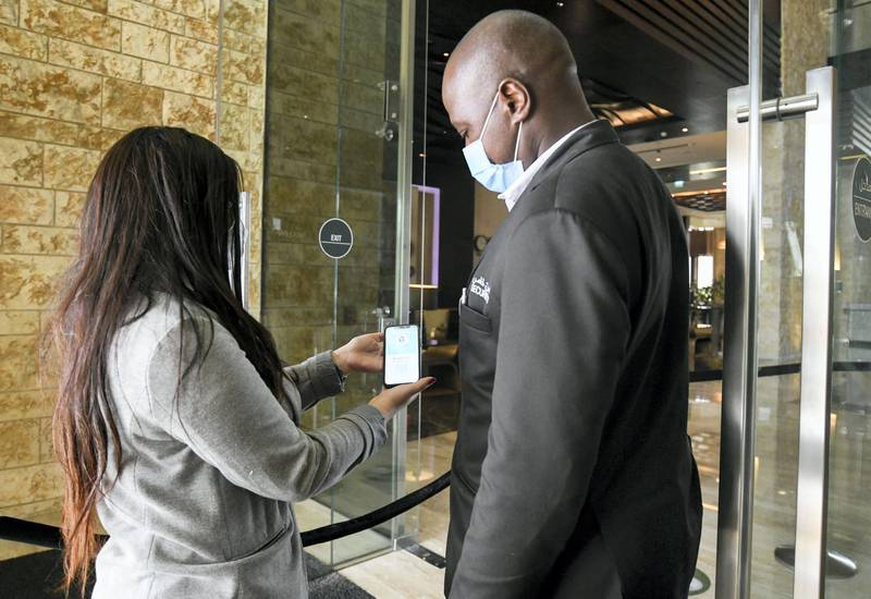New Covid Restrictions-AD The Westin Abu Dhabi Golf Resort & Spa follows the new green pass mandatory requirement on Al Hosn for entering the hotel on June 15, 2021. Khushnum Bhandari/ The National Reporter: Haneen Dajani News