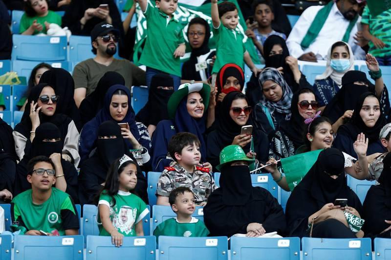 Saudi Arabia women attend a rally to celebrate the 87th annual National Day of Saudi Arabia in Riyadh, Saudi Arabia September 23, 2017. REUTERS/Faisal Al Nasser
