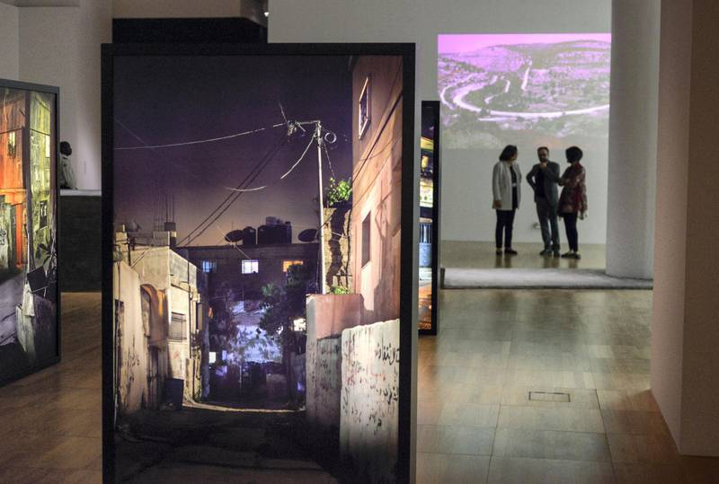 Abu Dhabi, United Arab Emirates - The installations for ÒPermanent TemporarinessÓ, questions the state of refugee status that is meant to be temporary, but has become permanent.   ItÕs core focus on Palestine issues, and is displayed at the Art Gallery in New York University, Saadiyat on February 22, 2018. (Khushnum Bhandari/ The National)