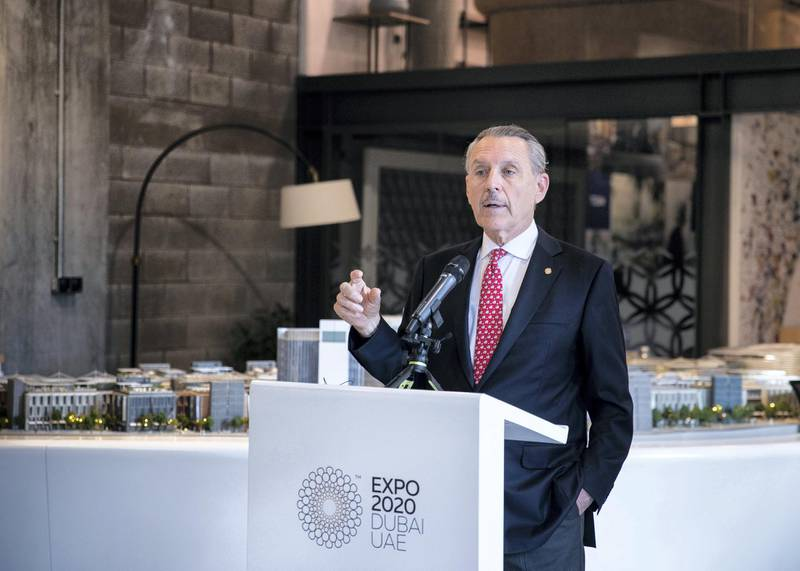 DUBAI, UNITED ARAB EMIRATES. 18 NOVEMBER 2020. US Commissioner General Ambassador John Rakolta Jr.at The USA Pavilion at EXPO 2020 site. (Photo: Reem Mohammed/The National)Reporter:Section: