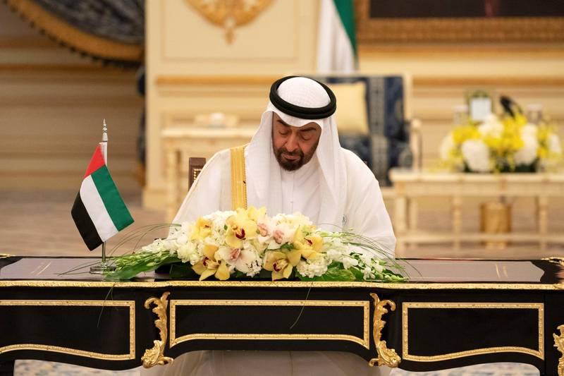 JEDDAH, SAUDI ARABIA - June 06, 2018: Dignitaries attend an MOU signing ceremony at the Royal Court.  ( Hamad Al Kaabi / Crown Prince Court - Abu Dhabi )
