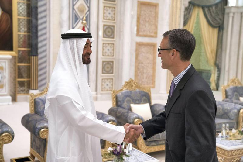 ABU DHABI, UNITED ARAB EMIRATES - May 20, 2018: HH Sheikh Mohamed bin Zayed Al Nahyan Crown Prince of Abu Dhabi Deputy Supreme Commander of the UAE Armed Forces (L), receives a foreign Ambassador (R), during an iftar reception at the Presidential Palace.   ( Hamad Al Kaabi / Crown Prince Court - Abu Dhabi ) ---