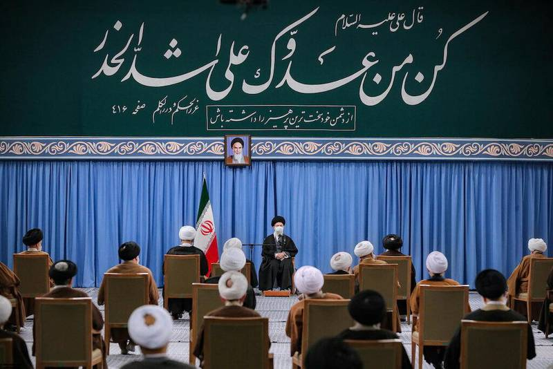Iran's Supreme Leader Ayatollah Ali Khamenei meets members of the Assembly of Experts in Tehran, Iran February 22, 2021. Official Khamenei Website/Handout via REUTERS ATTENTION EDITORS - THIS IMAGE WAS PROVIDED BY A THIRD PARTY. NO RESALES. NO ARCHIVES.