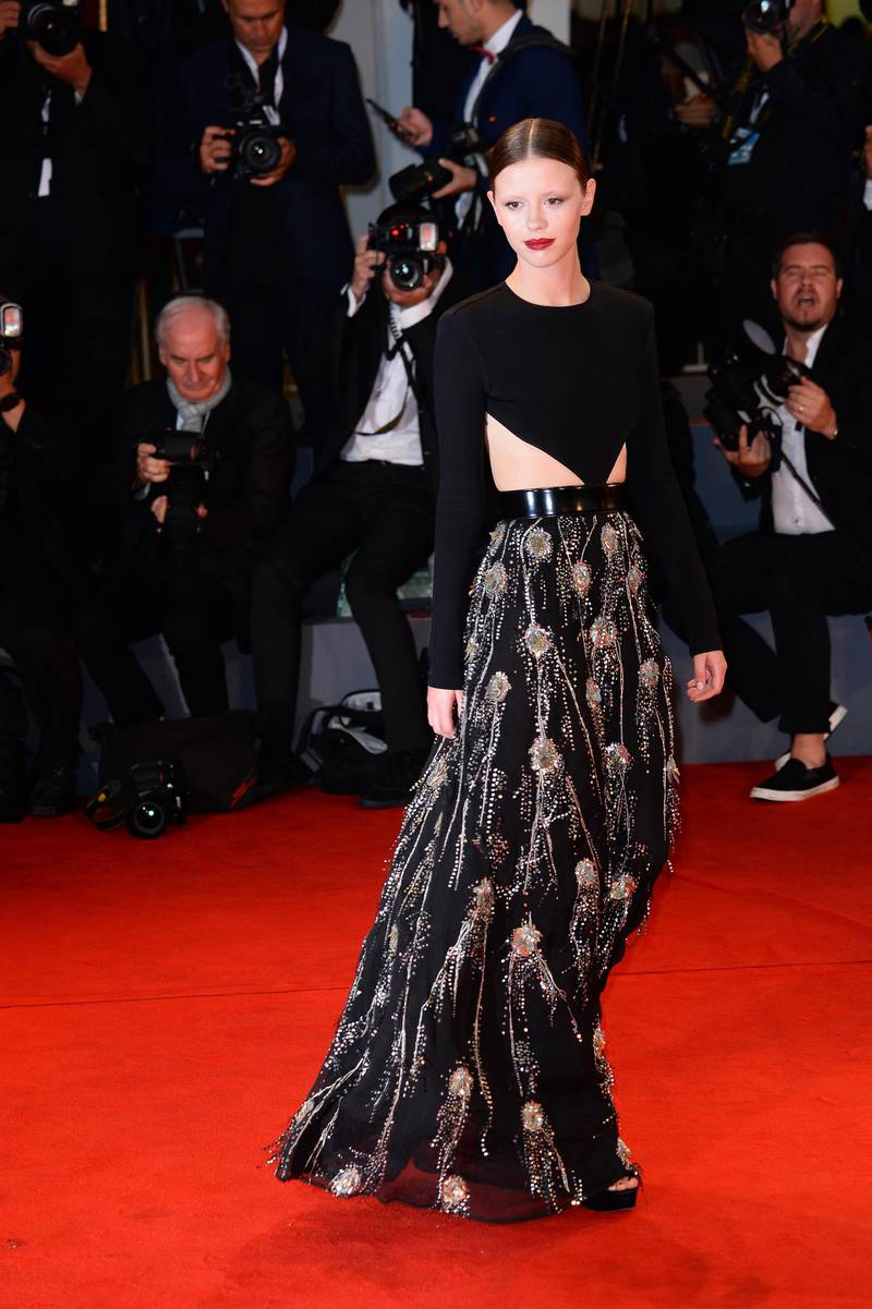 VENICE, ITALY - SEPTEMBER 01:  Mia Goth walks the red carpet ahead of the 'Suspiria' screening during the 75th Venice Film Festival at Sala Grande on September 1, 2018 in Venice, Italy.  (Photo by Eamonn M. McCormack/Getty Images)