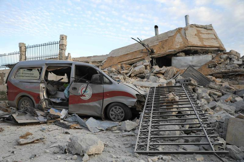 A picture taken on May 5, 2019 shows destruction at the entrance of a hospital in the village of Kafr Nabl, south of the jihadist-held Syrian province of Idlib. A Russian air strike on an underground hospital in Idlib has forced the closure of the facility, a medical organisation and war monitor said. / AFP / OMAR HAJ KADOUR
