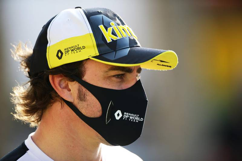 BAHRAIN, BAHRAIN - DECEMBER 04: Fernando Alonso of Spain and Renault Sport F1 talks to the media in the Paddock before practice ahead of the F1 Grand Prix of Sakhir at Bahrain International Circuit on December 04, 2020 in Bahrain, Bahrain. (Photo by Peter Fox/Getty Images)
