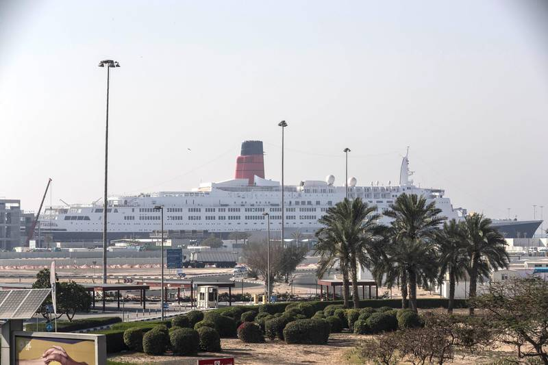 DUBAI, UNITED ARAB EMIRATES. 29 MARCH 2018. The Queen Elizabeth 2 at her moorings in Rashid Port. (Photo: Antonie Robertson/The National) Journalist: Johan Dennehy. Section: National.