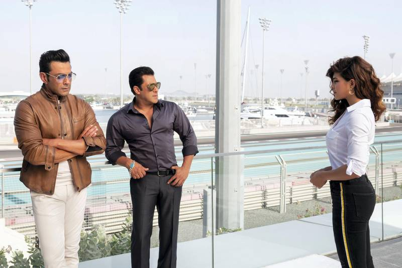 """Salman Khan, Jacqueline Fernandes and stars of """"Race 3"""" on location in Abu Dhabi. Courtesy twofour54"""