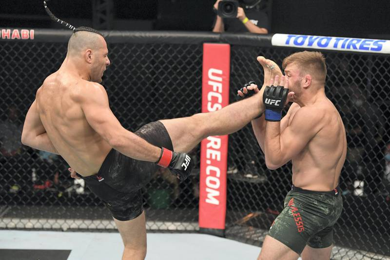 ABU DHABI, UNITED ARAB EMIRATES - OCTOBER 11: In this handout image provided by UFC,  (L-R) Markus Perez of Brazil kicks Dricus du Plessis of South Africa in their middleweight bout during the UFC Fight Night event inside Flash Forum on UFC Fight Island on October 11, 2020 in Yas Island, Abu Dhabi, United Arab Emirates. (Photo by Josh Hedges/Zuffa LLC via Getty Images)