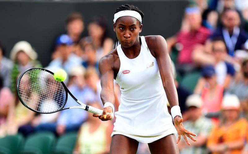 Cori Gauff during her mixed doubles match on day six of the Wimbledon Championships at the All England Lawn Tennis and Croquet Club, Wimbledon. PRESS ASSOCIATION Photo. Picture date: Saturday July 6, 2019. See PA story TENNIS Wimbledon. Photo credit should read: Victoria Jones/PA Wire. RESTRICTIONS: Editorial use only. No commercial use without prior written consent of the AELTC. Still image use only - no moving images to emulate broadcast. No superimposing or removal of sponsor/ad logos.