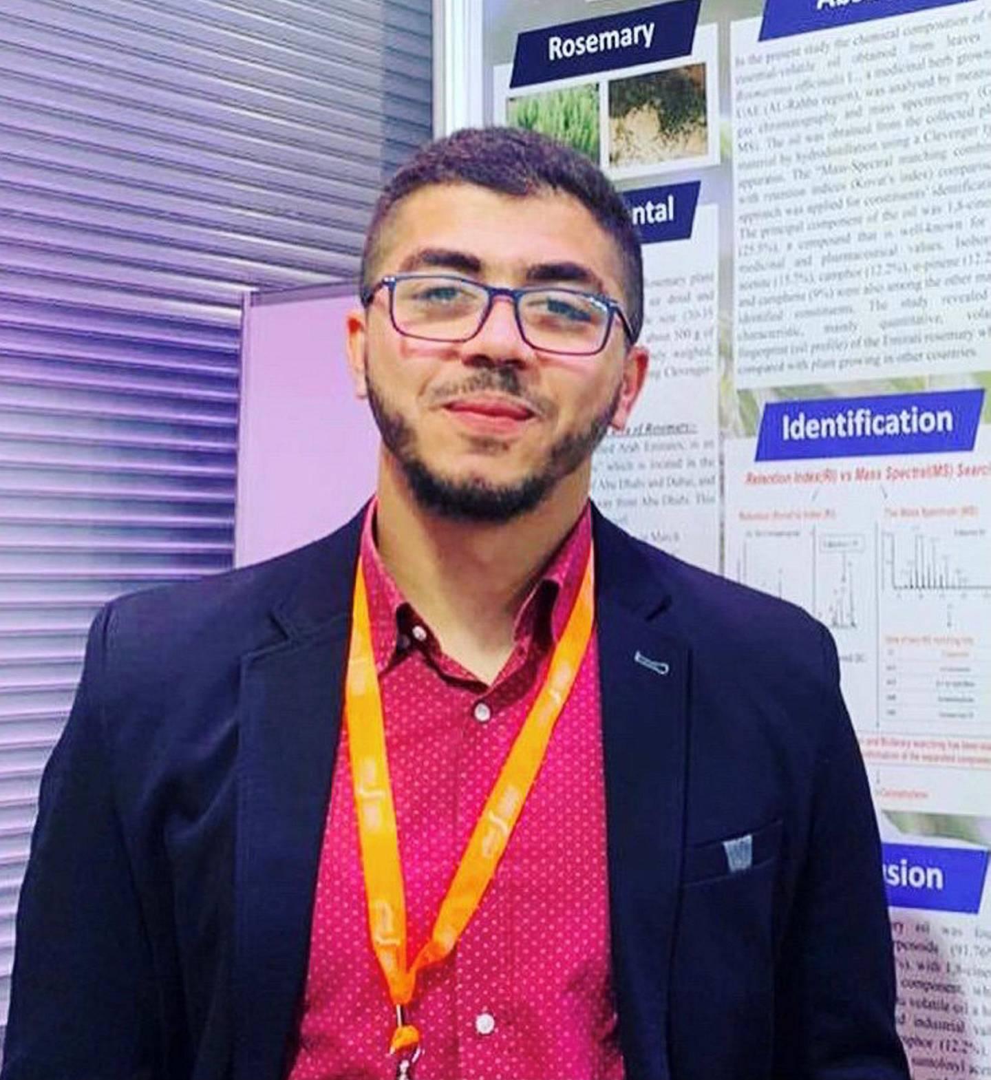 Abdallah Faissal, Palestinian fourth-year-student at Al Ain University. Courtesy: Abdallah Faissal