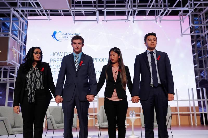 Dubai, UAE. March18, 2018.Florida student shooting survivors.  (L-R)Vijita Patel (moderator), Lewis Mizen, Suzana Barna and Kevin Trejos.Victor Besa / The NationalNational