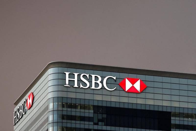 (FILES) This file photo taken in London on December 11, 2020 shows the offices of banking giant HSBC and pictured at the the secondary central business district of Canary Wharf on the Isle of Dogs, HSBC said on June 18, 2021 it will incur a hefty charge of 1.9 billion euros ($2.25 billion) with the sale of its French retail banking operations to French lender My Money Group. / AFP / Tolga Akmen