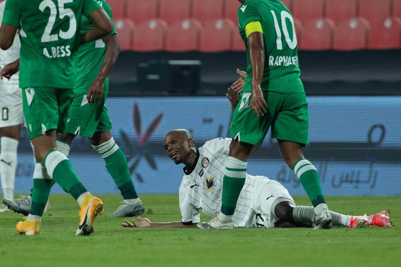 Arabian Gulf League final round: Al Jazira v Khorfakkan at Mohamed bin Zayed stadium. Serero of Jazira looks for a foul call during the first half of the game on May 11th, 2021. Victor Besa / The National.