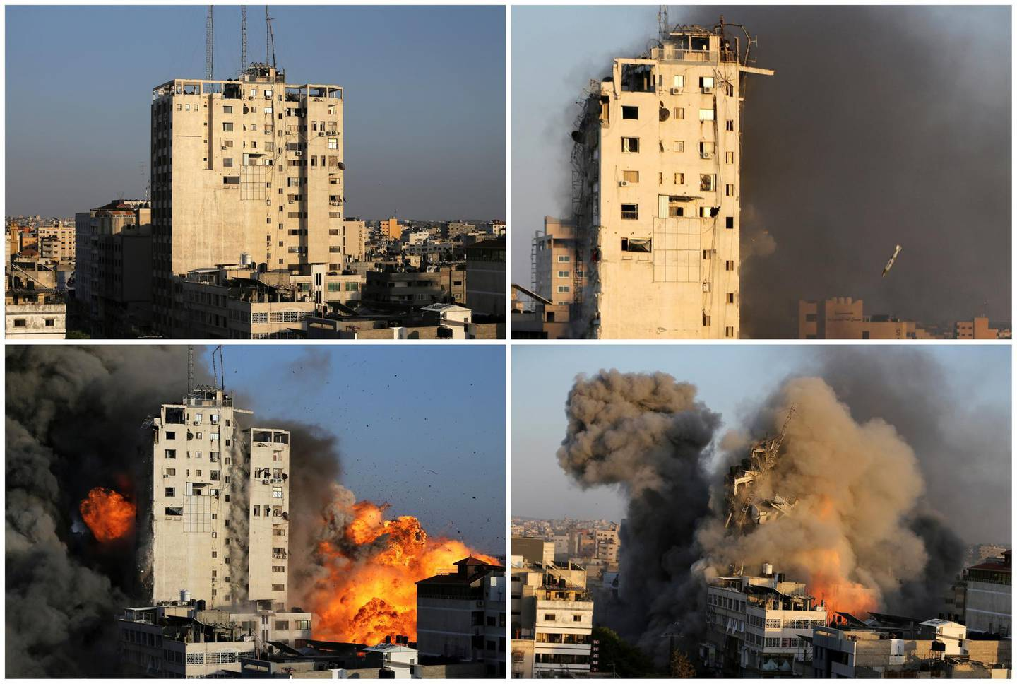 A combination picture shows a tower building before and after it was destroyed by Israeli air strikes amid a flare-up of Israeli-Palestinian violence, in Gaza City, May 12, 2021. REUTERS/Ibraheem Abu Mustafa     TPX IMAGES OF THE DAY