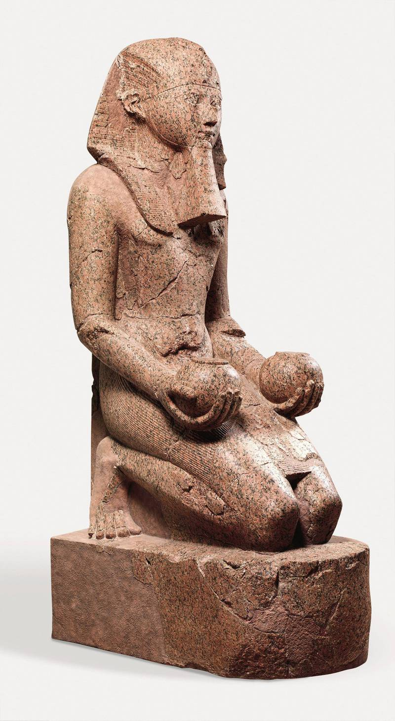 Large Kneeling Statue of Hatshepsut, New Kingdom, Dynasty 18, ca. 1479-1458 B.C., From Egypt, Upper Egypt, Thebes, Deir el-Bahri, Senenmut Quarry, 1927-28, Granite, H. 261.5 cm (102 15/16 in.); W. 80 cm (31 1/2 in.); D. 137 cm (53 15/16 in.), On the upper terrace of Hatshepsut's temple at Deir el-Bahri, the central sanctuary was dedicated to the god Amun-Re, whose principal place of worship was Karnak temple, located across the Nile, on the east bank of the river. (Photo by: Sepia Times/Universal Images Group via Getty Images)