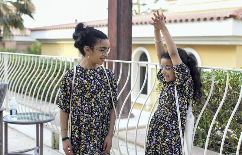 Abu Dhabi, United Arab Emirates -Sisters, Tahel Faye, 9 and Shilat Fayez, 8 constantly playing, Yemeni Jewish family in Abu Dhabi. Khushnum Bhandari for The National