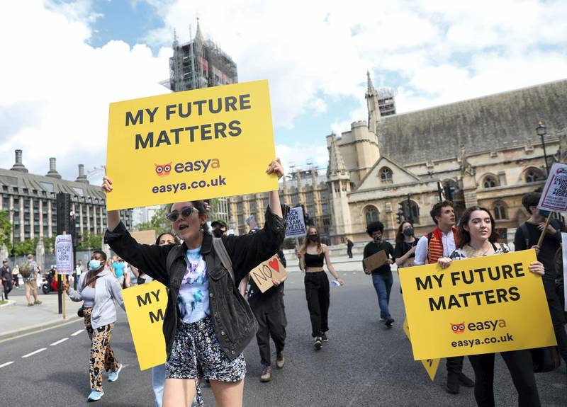 LONDON, UNITED KINGDOM - AUGUST 22: Students take part in a protest through Parliament Square, central London over the government's handling of exam results after A-level and General Certificate of Secondary Education (GCSE) exams were cancelled due to the coronavirus (Covid-19) pandemic in London, United Kingdom on August 22, 2020. (Photo by Isabel Infantes/Anadolu Agency via Getty Images)
