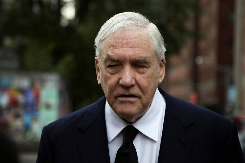 Conrad Black arrives for the late former Canadian Prime Minister John Turner's state funeral at St. Michael's Cathedral Basilica in Toronto, Ontario, Canada October 6, 2020.  REUTERS/Carlos Osorio