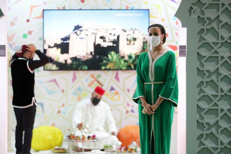 Morocco stand during the Arabian Travel Market held at Dubai World Trade Centre in Dubai on May 16,2021. Pawan Singh / The National. Story by Deena