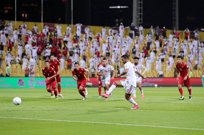 UAE's Ali Mabkhout scores from the spot during the game between the UAE and Vietnam in the World cup qualifiers at the Zabeel Stadium, Dubai on June 15th, 2021. Chris Whiteoak / The National.  Reporter: John McAuley for Sport