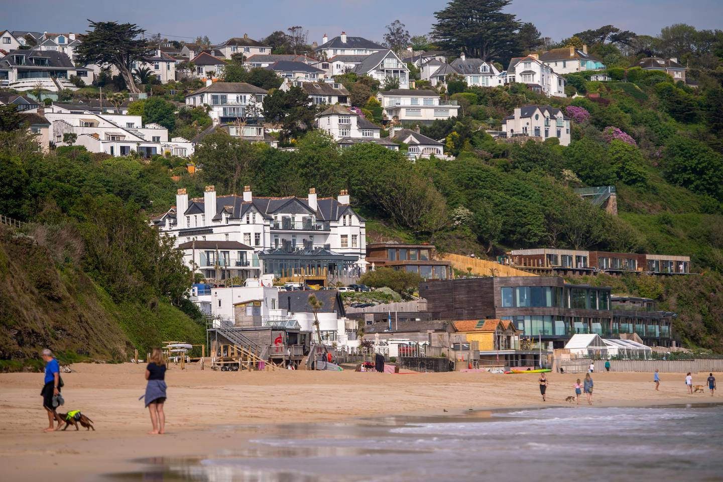 The Carbis Bay Hotel and Beach, the venue for the upcoming Group of Seven leaders summit, in Carbis Bay, U.K., on Thursday, June 3, 2021. The G-7 nations plans to launch a green alternative to China's Belt and Road initiative when the leaders meet at a summit next week, according to two people familiar with the matter. Photographer: Anthony Devlin/Bloomberg