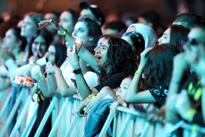 Abu Dhabi, United Arab Emirates - November 28th, 2019: The audience at the Lana Del Rey gig at the F1. Saturday, November 30th, 2019. Du Arena, Abu Dhabi. Chris Whiteoak / The National