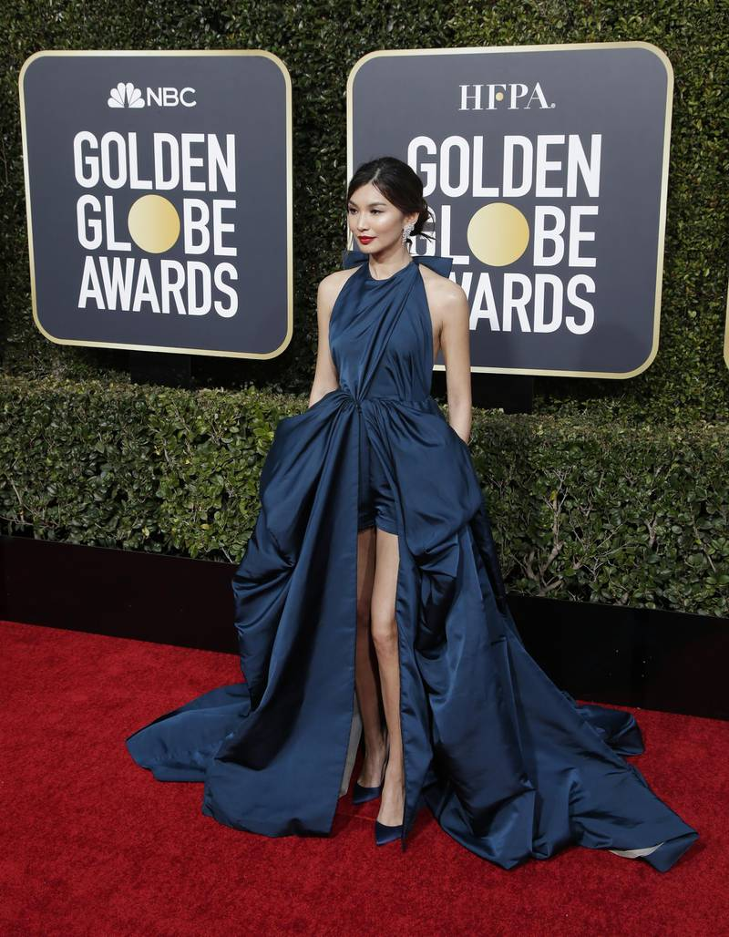 epa07266825 Gemma Chan arrives for the 76th annual Golden Globe Awards ceremony at the Beverly Hilton Hotel, in Beverly Hills, California, USA, 06 January 2019.  EPA-EFE/MIKE NELSON