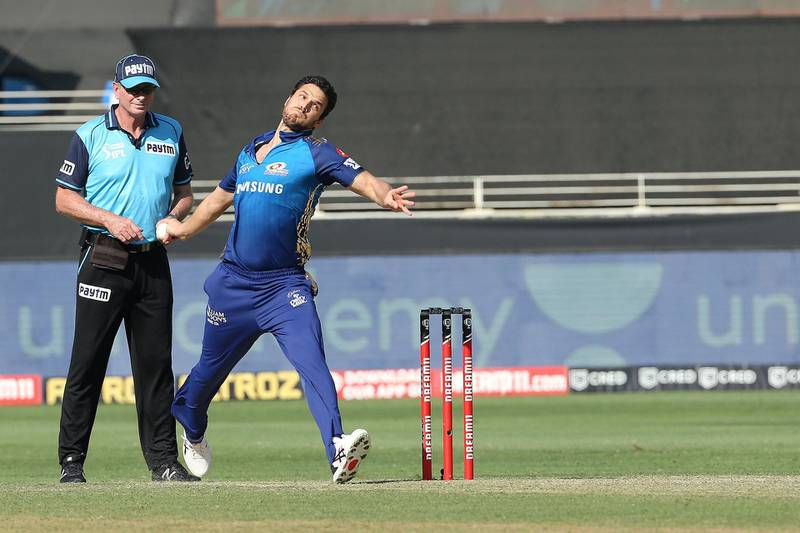 Nathan Coulter-Nile of Mumbai Indians during match 51 of season 13 of the Dream 11 Indian Premier League (IPL) between the Delhi Capitals and the Mumbai Indians held at the Dubai International Cricket Stadium, Dubai in the United Arab Emirates on the 31st October 2020.  Photo by: Ron Gaunt  / Sportzpics for BCCI