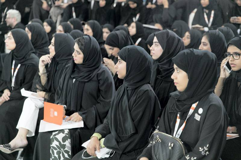 ABU DHABI, UNITED ARAB EMIRATES - OCTOBER 08, 2018.   Students listen to His Excellency Abdallah Bin Touq, at the Majilis in Mohammed Bin Zayed Council for Future Generations sessions, held at ADNEC.  (Photo by Reem Mohammed/The National)  Reporter: SHIREENA AL NUWAIS + ANAM RIZVI Section:  NA