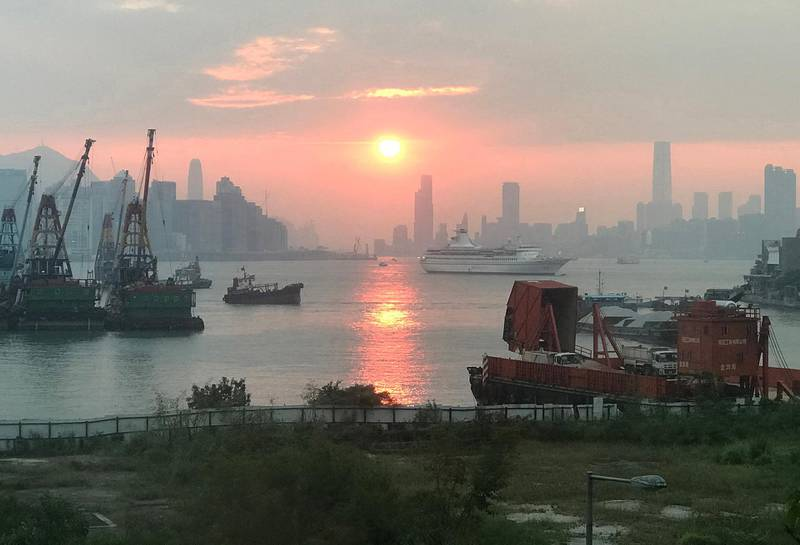 epa07274800 Air pollution hangs on the Hong Kong skyline as seen from Yau Tong, Kowloon, Hong Kong, China, 28 September 2018 (issued 11 January 2019). According newly released data from the Hong Kong government, Hong Kong air quality has improved in recent years. An Environmental Protection Department report released 11 February 2019 said that from 2013 to 2018 concentrations of all major air pollutants fell by 28% to 54%, while roadside concentrations of the same pollutants fell 32% to 36%. Such pollutants include respirable suspended particulates, fine suspended particulates, nitrogen dioxide and sulphur dioxide.  EPA/ALEX HOFFORD