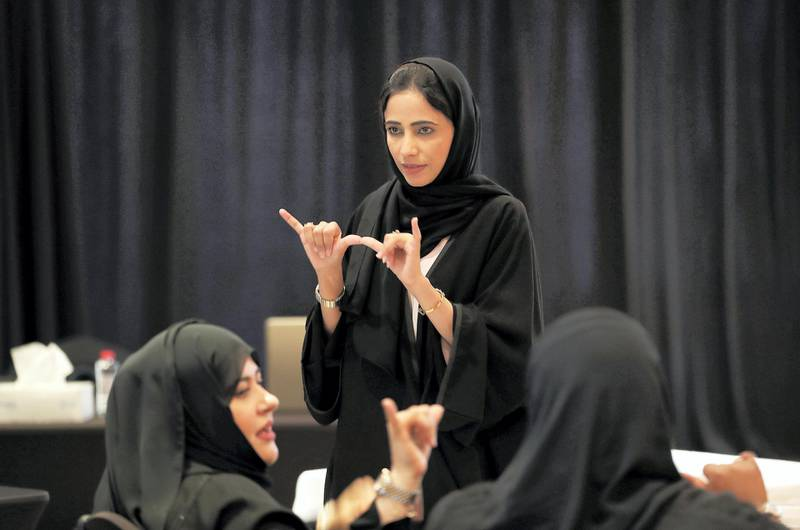 DUBAI , UNITED ARAB EMIRATES , MAY 9 – 2018 :- Abeer Al Shahi , First Emirati to specialise in sign language during the event held at Meydan hotel in Dubai.  ( Pawan Singh / The National )  For News. Story by Ruba Haza