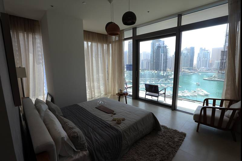 Dubai, 19, March, 2017: View from the two bedroom appartment at the Marina Gate Appartments at the Dubai Marina in Dubai. ( Satish Kumar / The National )  ID No: 43188 Section: Business Reporter: Lucy Barnard *** Local Caption ***  SK-MarinaGate-19032017-01.jpg