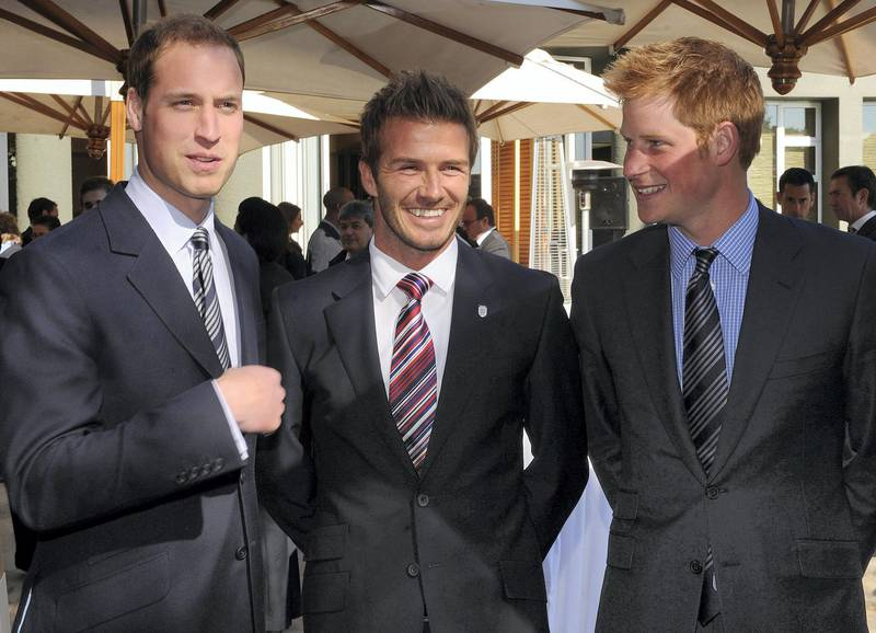 JOHANNESBERG, SOUTH AFRICA - JUNE 19:  Prince William poses with David Beckham (C) and Prince Harry (R) at an FA reception at the Saxon Hotel on June 19, 2010 in Johannesberg, South Africa. (Photo by Luca Ghidoni - Pool/Getty Images)