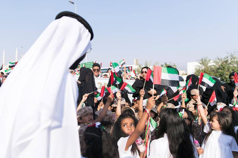 FUJAIRAH, UNITED ARAB EMIRATES - NOV 28:  KG2 girls from Al Ghorfa Nursery taking part in Fujairah's national parade.  Al Fujairah began it's UAE National Day celebrations with a national parade.  (Photo by Reem Mohammed/The National)  Reporter:  Ruba Haza Section: NA