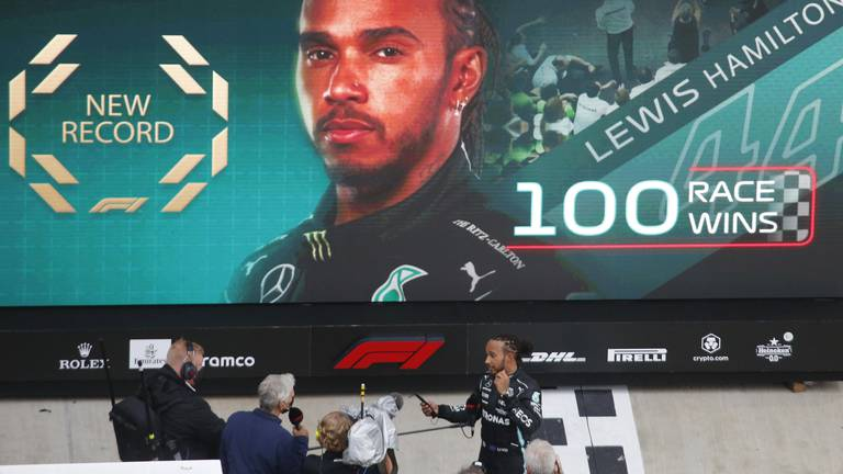 An image that illustrates this article Hamilton becomes first F1 driver to 100 wins after Russian GP victory