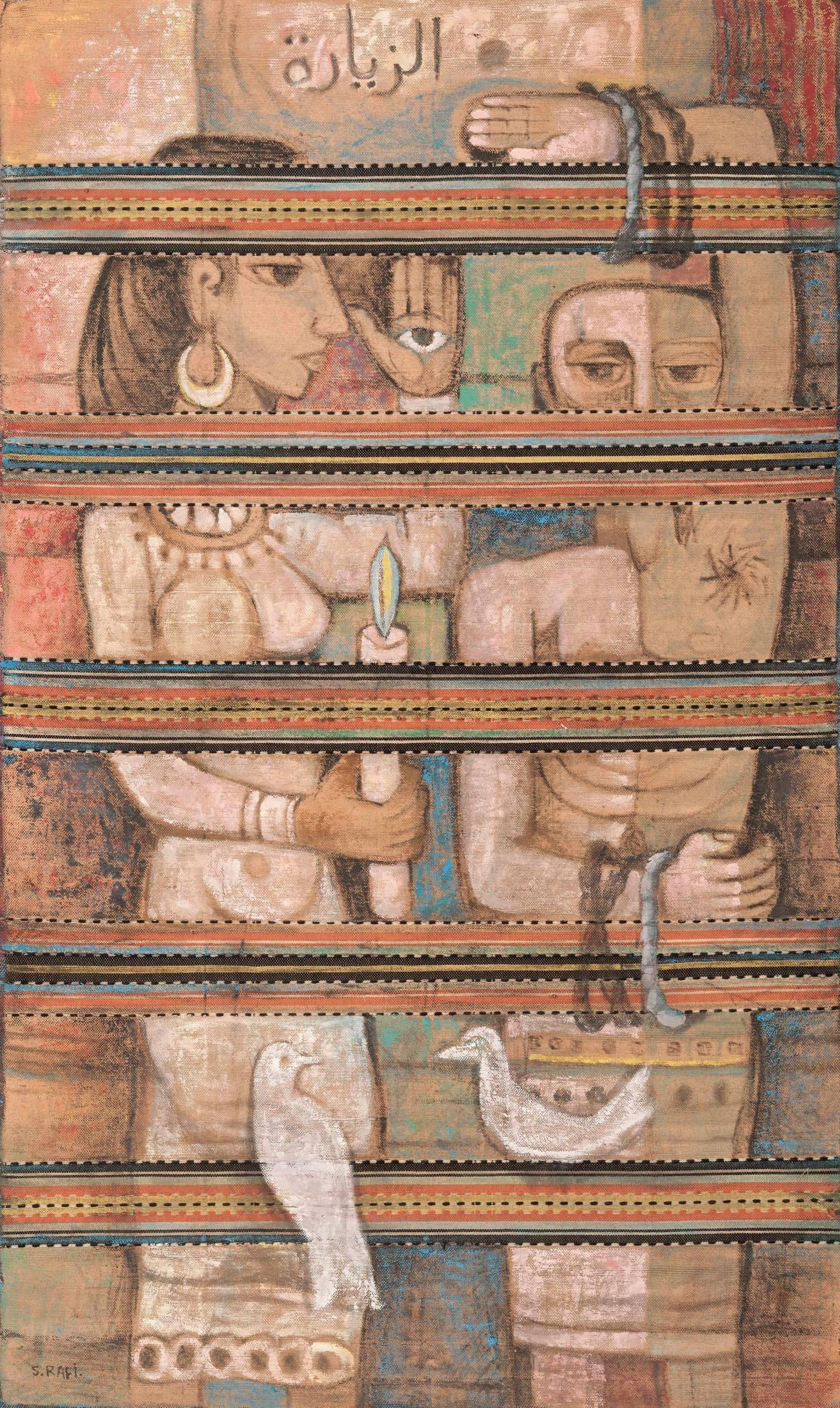 SR014_LR_Samir Rafi, The Visit, 1965, Oil on rug,220x133cm, Image courtesy of Ubuntu Art Gallery