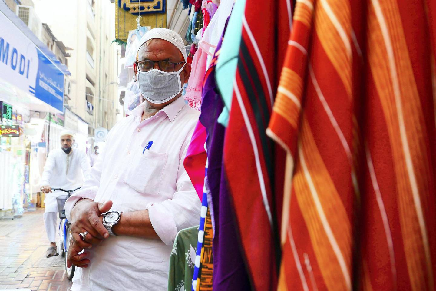 Moidu Parlat outside his shop in Naif area in Deira Dubai during the evening on April 21, 2021. Pawan Singh / The National. Story by Sarwat Nasir