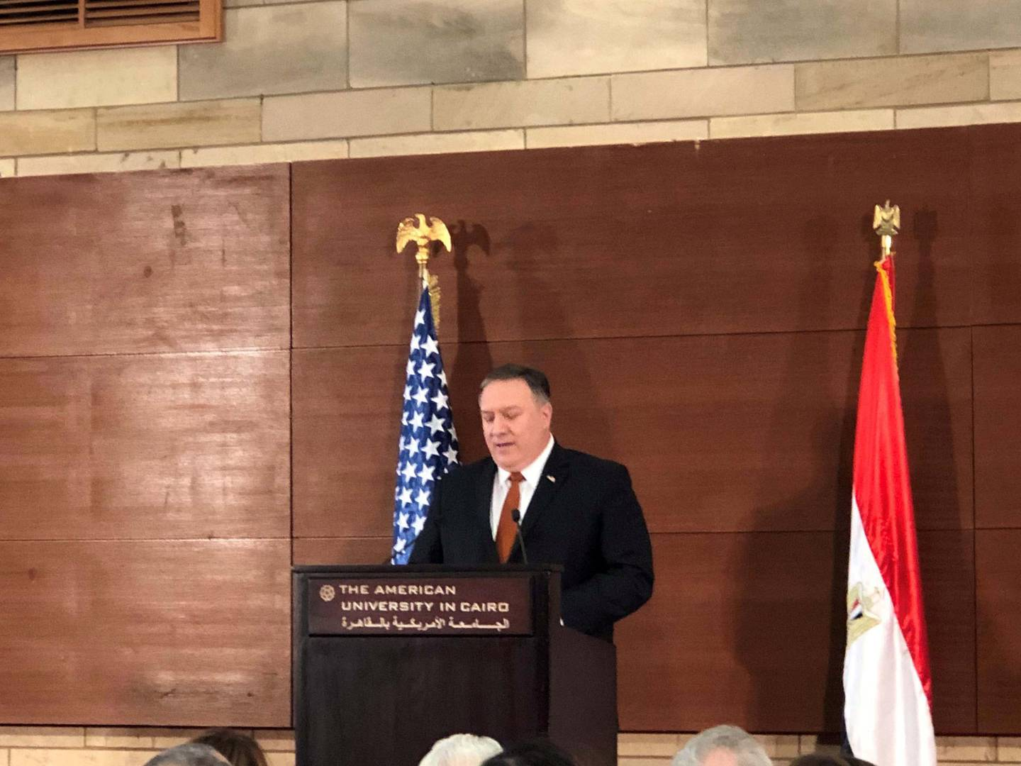 U.S. Secretary of State Michael R. Pompeo giving a speech at The American University in Cairo, Egypt. Jacob Wirtschafter for The National