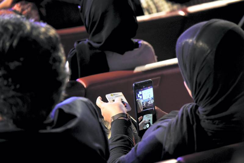 people cast electronic vote at the 2019 Arab Reading Challenge in Dubai, UAE, Wednesday, Nov. 13, 2019. (Photos by Shruti Jain - The National)
