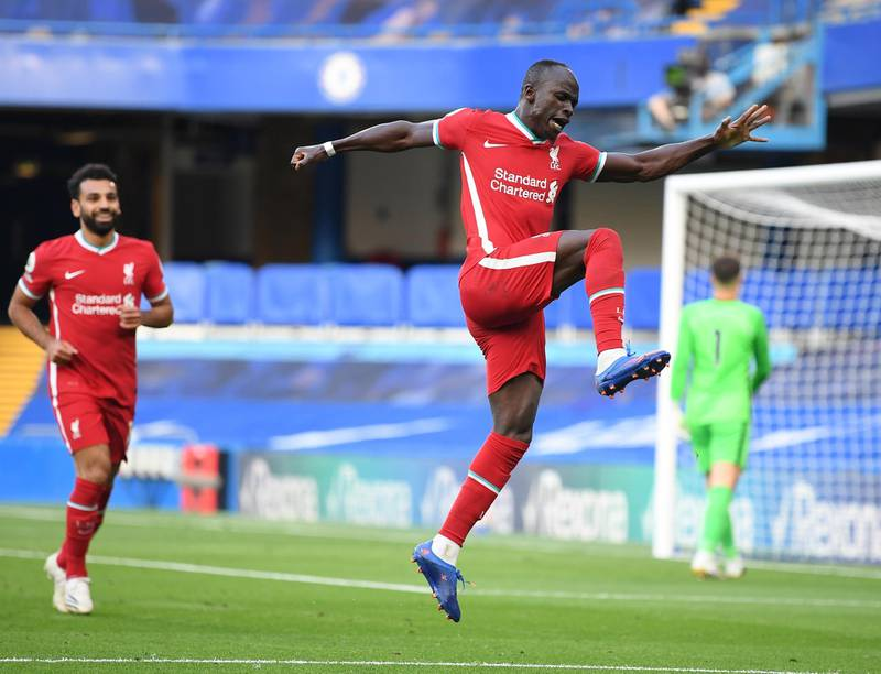 epa08684460 Sadio Mane of Liverpool celebrates scoring his team's second goal during the English Premier League match between Chelsea vs Liverpool in London, Britain, 20 September 2020.  EPA/Michael Regan / POOL EDITORIAL USE ONLY. No use with unauthorized audio, video, data, fixture lists, club/league logos or 'live' services. Online in-match use limited to 120 images, no video emulation. No use in betting, games or single club/league/player publications.
