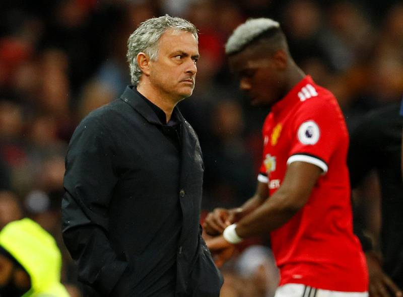 """Soccer Football - Premier League - Manchester United vs West Bromwich Albion - Old Trafford, Manchester, Britain - April 15, 2018   Manchester United manager Jose Mourinho as Paul Pogba is substituted       Action Images via Reuters/Jason Cairnduff    EDITORIAL USE ONLY. No use with unauthorized audio, video, data, fixture lists, club/league logos or """"live"""" services. Online in-match use limited to 75 images, no video emulation. No use in betting, games or single club/league/player publications.  Please contact your account representative for further details."""