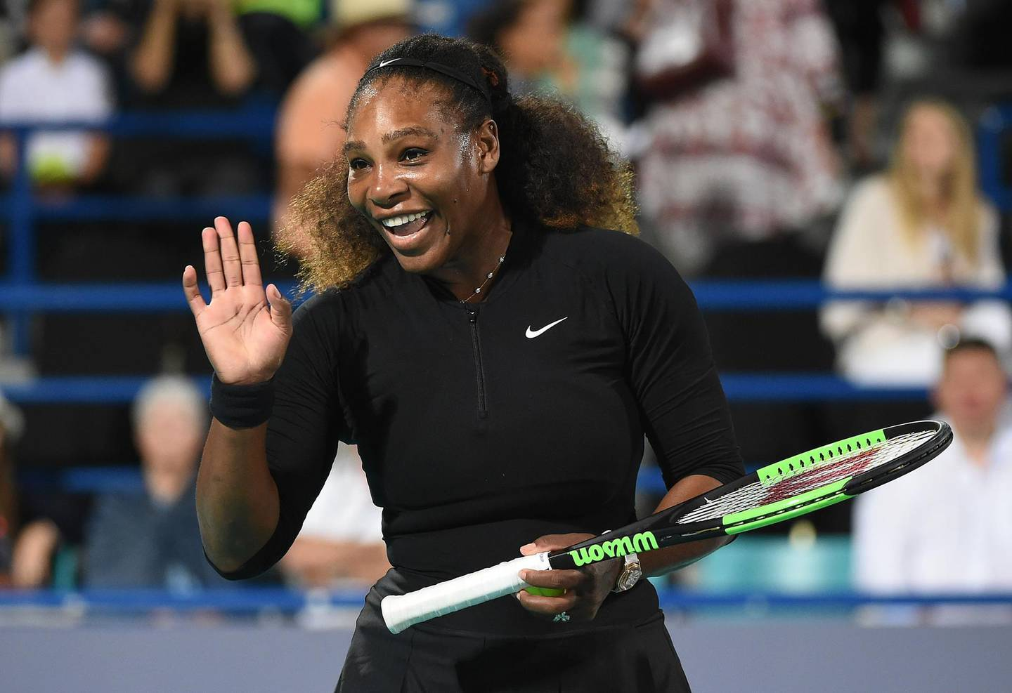 ABU DHABI, UNITED ARAB EMIRATES - DECEMBER 30:  Serena Williams of United States smiles during her Ladies Final match against Jelena Ostapenko of Latvia on day three of the Mubadala World Tennis Championship at International Tennis Centre Zayed Sports City on December 30, 2017 in Abu Dhabi, United Arab Emirates.  (Photo by Tom Dulat/Getty Images) *** BESTPIX ***