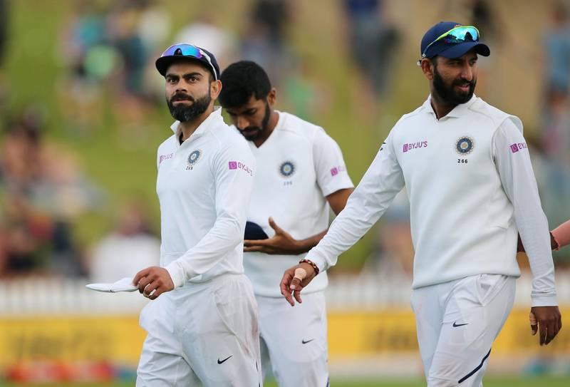 Cricket - New Zealand v India - First Test - Basin Reserve, Wellington, New Zealand - February 22, 2020    India's Virat Kohli after the match with teammates   REUTERS/Martin Hunter