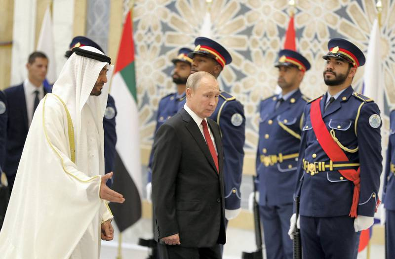 ABU DHABI , UNITED ARAB EMIRATES , October 15  – 2019 :- Sheikh Mohammed bin Zayed Al Nahyan, Crown Prince of Abu Dhabi and Vladimir Putin, President of Russia during the guard of honour by the members of the UAE Armed during his visit at the Presidential Palace in Abu Dhabi.  ( Pawan Singh / The National )  For News. Story by John