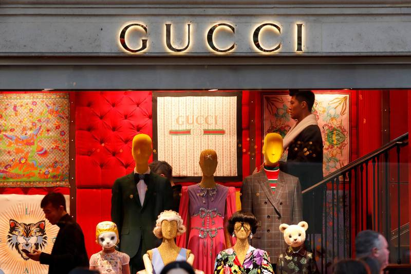 FILE PHOTO: A Gucci sign is seen outside a shop in Paris, France, December 18, 2017. REUTERS/Charles Platiau/File Photo